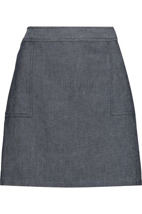 A.P.C. Eddie cotton-blend chambray mini skirt