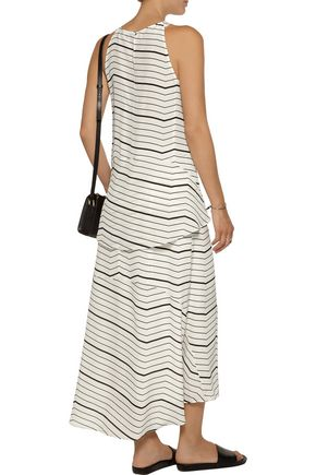 THEORY Vivridge striped silk-chiffon midi skirt