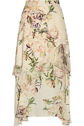 HAUTE HIPPIE The Garden ruffle-trimmed floral-print silk crepe de chine midi skirt
