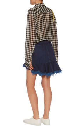 MARQUES ' ALMEIDA Ruffled frayed denim mini skirt