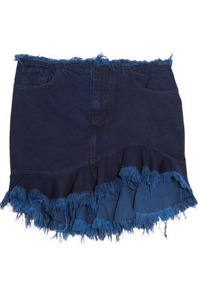MARQUES ALMEIDA Ruffled frayed denim mini skirt
