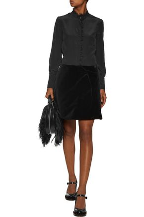 SIMONE ROCHA Wrap-effect velvet mini skirt