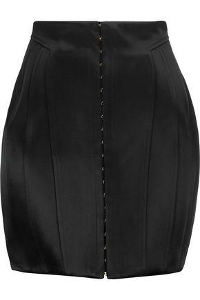 BALMAIN Paneled satin mini skirt