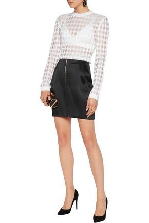 BALMAIN Paneled satin mini skirt