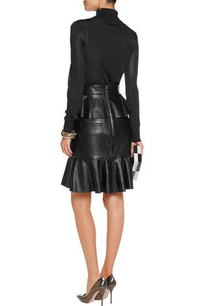 BALMAIN Ruffled leather skirt