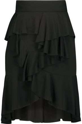 BALMAIN Asymmetric ruffled twill skirt