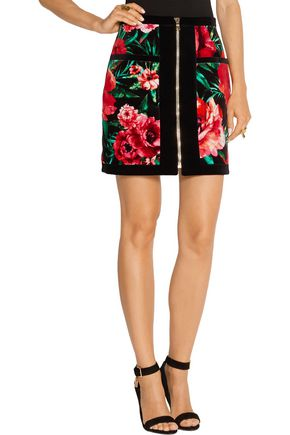 BALMAIN Floral-print cotton-velvet mini skirt