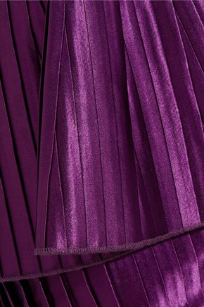 BALMAIN Ruffled plissé-satin mini skirt