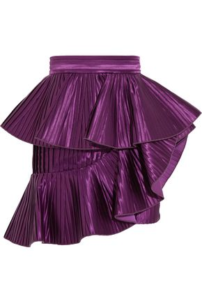 BALMAIN Ruffled plissé-satin mini skirt