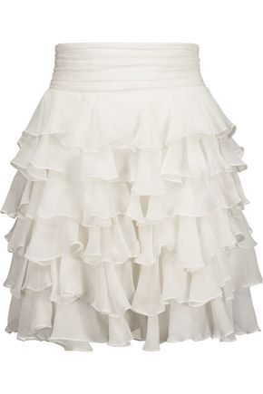 BALMAIN Ruffled silk-georgette mini skirt