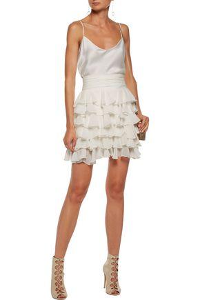 BALMAIN Ruffled silk-georgette mini skirt