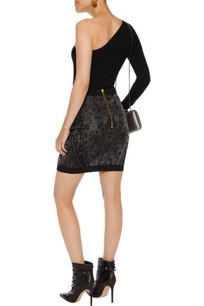 BALMAIN Jacquard-knit mini skirt