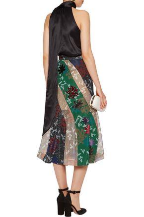 ROLAND MOURET Appliquéd mesh midi skirt