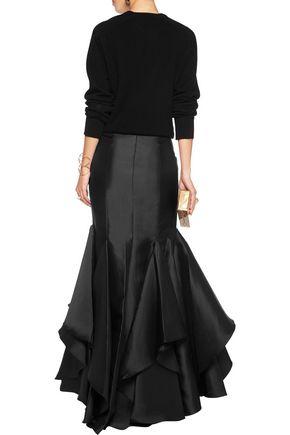 BADGLEY MISCHKA Ruffled satin maxi skirt