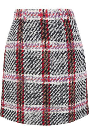 CARVEN Tartan bouclé-tweed mini skirt