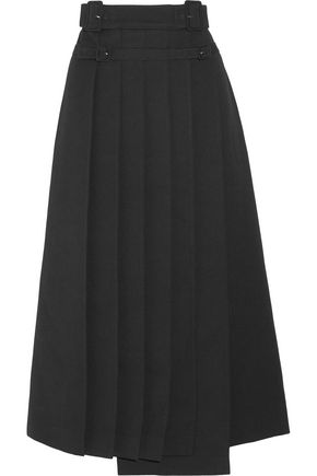 CARVEN Wrap-effect pleated crepe midi skirt