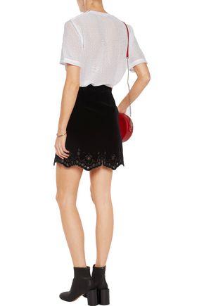 CARVEN Embroidered velvet mini skirt
