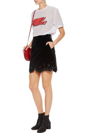 CARVEN Broderie anglaise-paneled velvet mini skirt