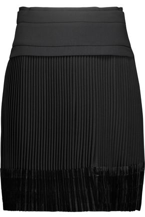 CARVEN Velvet-paneled pleated crepe mini skirt