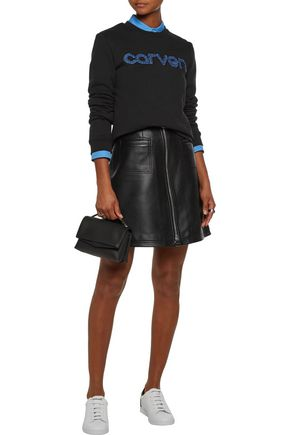 CARVEN Leather mini skirt