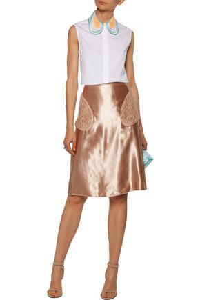 CHRISTOPHER KANE Lace-paneled satin skirt