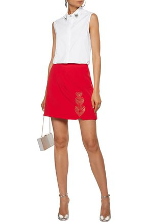 CHRISTOPHER KANE Embroidered crepe mini skirt