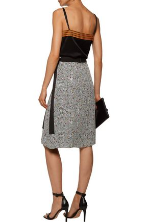 CHRISTOPHER KANE Grosgrain-trimmed printed silk crepe de chine skirt