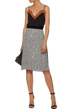 CHRISTOPHER KANE Grosgrain-trimmed printed silk crepe de chine skirt