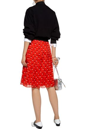 CHRISTOPHER KANE Pleated printed silk-chiffon skirt