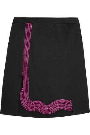 CHRISTOPHER KANE Guipure lace-trimmed crepe  mini skirt