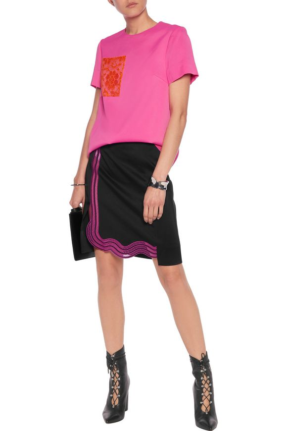 Guipure lace-trimmed crepe mini skirt | CHRISTOPHER KANE | Sale up to 70%  off | THE OUTNET