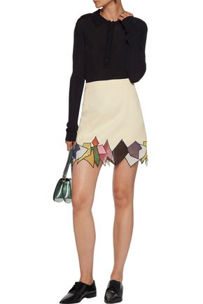 CHRISTOPHER KANE Asymmetric guipure lace-trimmed crepe mini skirt