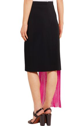 CHRISTOPHER KANE Fringed crochet-paneled stretch-crepe skirt