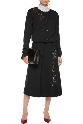 JIL SANDER Embellished pleated wool midi skirt
