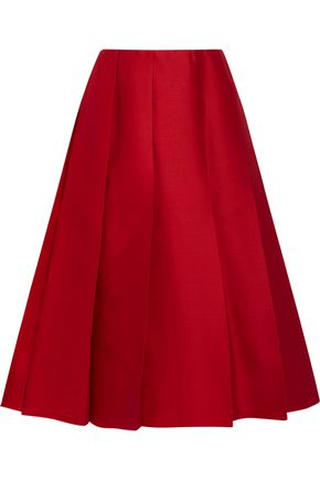NINA RICCI Pleated wool and silk-blend twill skirt