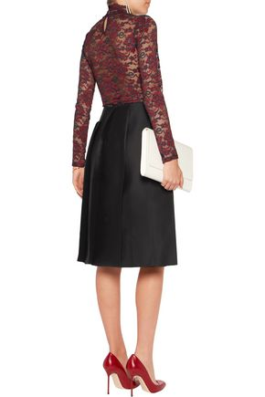 NINA RICCI Pleated brushed wool and silk-blend skirt