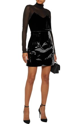 NINA RICCI Patent-leather mini skirt