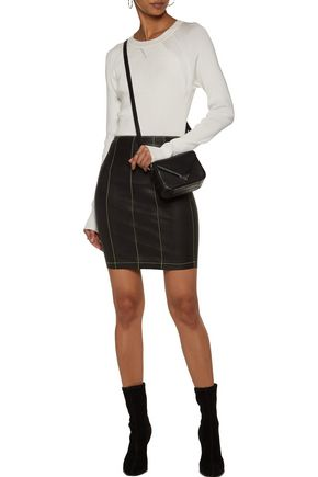 T by ALEXANDER WANG Stretch-leather mini skirt