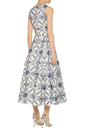 MARCHESA NOTTE Printed cotton and silk-blend midi skirt