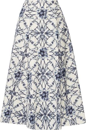 MARCHESA NOTTE Printed cotton and silk-blend midi skirt