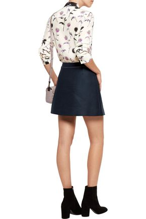 KENZO Cotton and wool-blend twill mini skirt