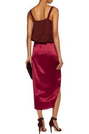 MICHELLE MASON Wrap-effect silk-satin midi skirt
