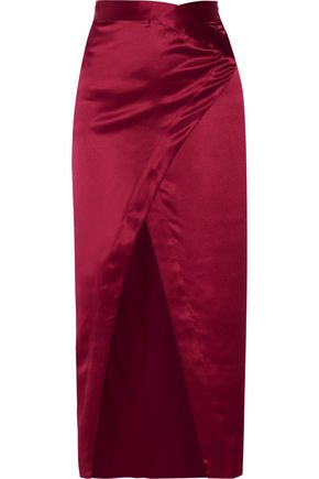 MICHELLE MASON Wrap-effect silk-satin midi skirt