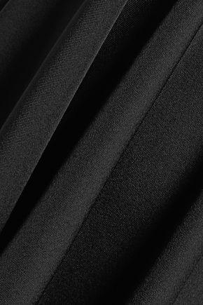 HALSTON HERITAGE Asymmetric embroidered crepe skirt