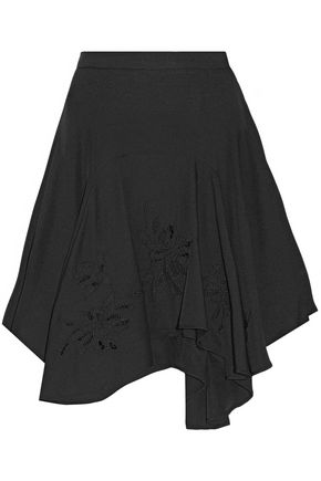 HALSTON HERITAGE Asymmetric embroidered crepe skirt