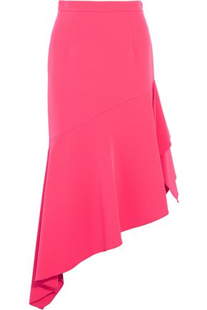 MILLY Charlotte asymmetric neon crepe midi skirt