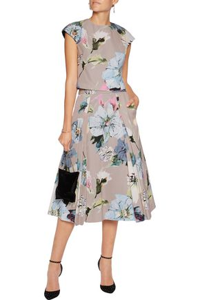 MILLY Floral-print cotton-blend faille midi skirt