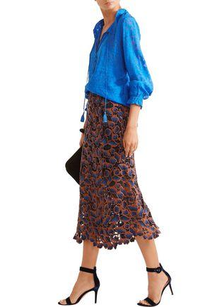 SALONI Bibi embroidered guipure lace midi skirt