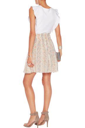 NEEDLE & THREAD Floral-print pleated fil coupé chiffon mini skirt