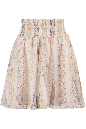 NEEDLE & THREAD Floral-print pleated fil coupé chiffon mini skirt